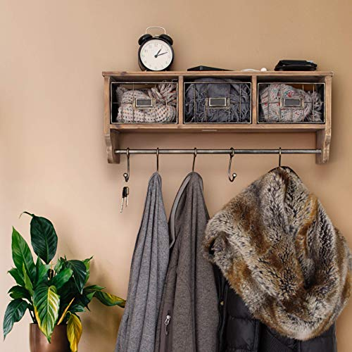 Rustic Coat Rack Wall Mounted Shelf With Hooks Baskets Entryway Organizer Wall Shelf With 5 Coat Hooks And Cubbies Solid Wooden Shelf With Hooks Hang Coats Towels Hats Keys Or Coffee Mugs 0 0
