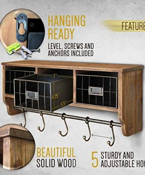Rustic Coat Rack Wall Mounted Shelf With Hooks Baskets Entryway Organizer Wall Shelf With 5 Coat Hooks And Cubbies Solid Wooden Shelf With Hooks Hang Coats Towels Hats Keys Or Coffee Mugs 0 1 300x360