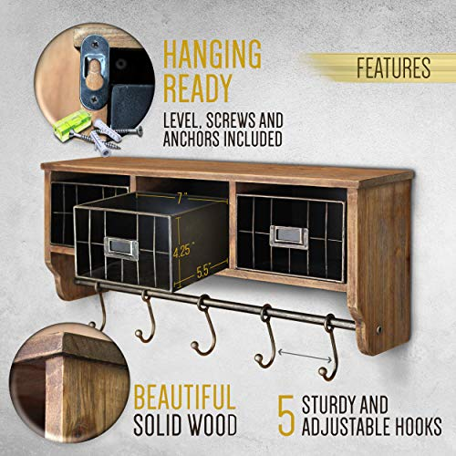 Rustic Coat Rack Wall Mounted Shelf With Hooks Baskets Entryway Organizer Wall Shelf With 5 Coat Hooks And Cubbies Solid Wooden Shelf With Hooks Hang Coats Towels Hats Keys Or Coffee Mugs 0 1