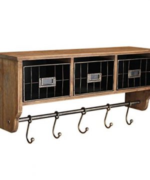 Rustic Coat Rack Wall Mounted Shelf With Hooks Baskets Entryway Organizer Wall Shelf With 5 Coat Hooks And Cubbies Solid Wooden Shelf With Hooks Hang Coats Towels Hats Keys Or Coffee Mugs 0 300x360