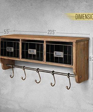 Rustic Coat Rack Wall Mounted Shelf With Hooks Baskets Entryway Organizer Wall Shelf With 5 Coat Hooks And Cubbies Solid Wooden Shelf With Hooks Hang Coats Towels Hats Keys Or Coffee Mugs 0 4 300x360