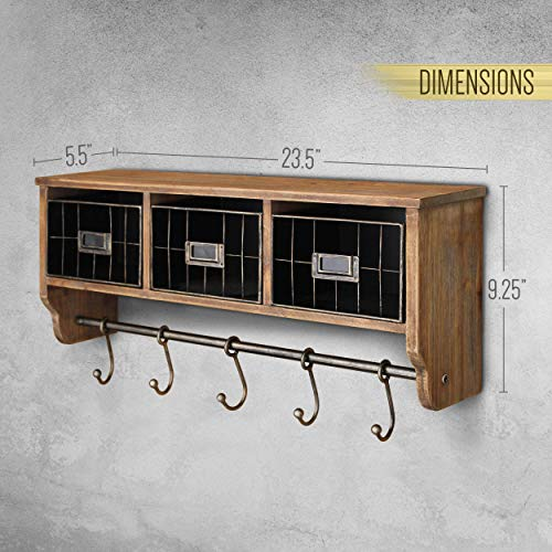 Rustic Coat Rack Wall Mounted Shelf With Hooks Baskets Entryway Organizer Wall Shelf With 5 Coat Hooks And Cubbies Solid Wooden Shelf With Hooks Hang Coats Towels Hats Keys Or Coffee Mugs 0 4