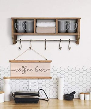 Rustic Coat Rack Wall Mounted Shelf With Hooks Baskets Entryway Organizer Wall Shelf With 5 Coat Hooks And Cubbies Solid Wooden Shelf With Hooks Hang Coats Towels Hats Keys Or Coffee Mugs 0 5 300x360
