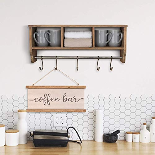 Rustic Coat Rack Wall Mounted Shelf With Hooks Baskets Entryway Organizer Wall Shelf With 5 Coat Hooks And Cubbies Solid Wooden Shelf With Hooks Hang Coats Towels Hats Keys Or Coffee Mugs 0 5