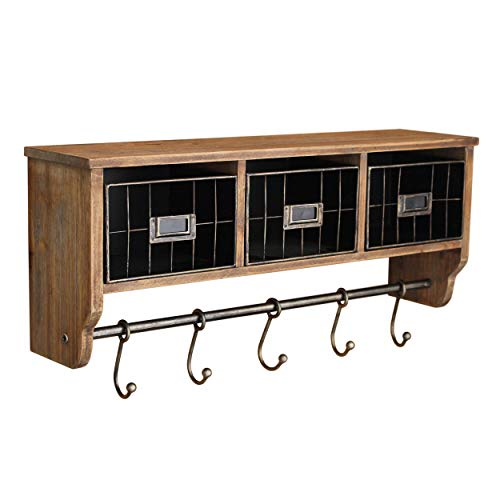 Rustic Coat Rack Wall Mounted Shelf With Hooks Baskets Entryway Organizer Wall Shelf With 5 Coat Hooks And Cubbies Solid Wooden Shelf With Hooks Hang Coats Towels Hats Keys Or Coffee Mugs 0