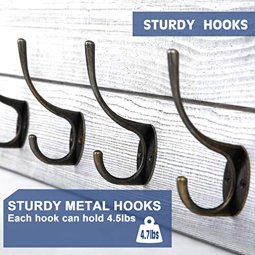 Rustic Coat Rack Wall MountedWall Coat Hooks With 2 DIY Decorations Entryway Coat Racks Shelf 24 With 5 Bronze Hooks Wooden Country StyleWhite 0 3