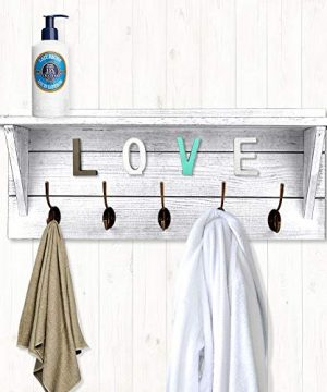 Rustic Coat Rack Wall MountedWall Coat Hooks With 2 DIY Decorations Entryway Coat Racks Shelf 24 With 5 Bronze Hooks Wooden Country StyleWhite 0 4 300x360