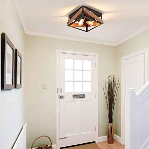 Rustic Industrial Flush Mount Light Fixture Two Light Metal And Wood Square Flush Mount Ceiling Light For Hallway Living Farmhouse Goals