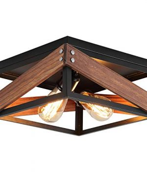 Rustic Industrial Flush Mount Light Fixture Two Light Metal And Wood Square Flush Mount Ceiling Light For Hallway Living Room Bedroom Kitchen Entryway Farmhouse Black 0 300x360