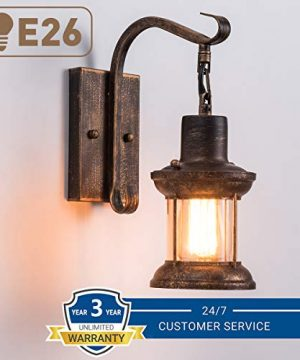 Rustic Light Fixtures Oil Rubbed Bronze Finish Indoor Vintage Wall Light Wall Sconce Industrial Lamp Fixture Glass Shade Farmhouse Metal Sconces Wall Lights For Bedroom Living Room Cafe2 Pack 0 0 300x360