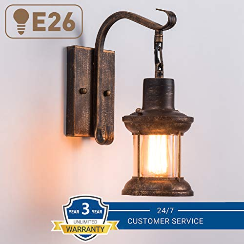 Rustic Light Fixtures Oil Rubbed Bronze Finish Indoor Vintage Wall Light Wall Sconce Industrial Lamp Fixture Glass Shade Farmhouse Metal Sconces Wall Lights For Bedroom Living Room Cafe2 Pack 0 0