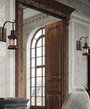 Rustic Light Fixtures Oil Rubbed Bronze Finish Indoor Vintage Wall Light Wall Sconce Industrial Lamp Fixture Glass Shade Farmhouse Metal Sconces Wall Lights For Bedroom Living Room Cafe2 Pack 0 3 300x360