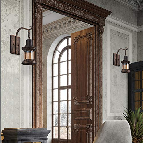 Rustic Light Fixtures Oil Rubbed Bronze Finish Indoor Vintage Wall Light Wall Sconce Industrial Lamp Fixture Glass Shade Farmhouse Metal Sconces Wall Lights For Bedroom Living Room Cafe2 Pack 0 3