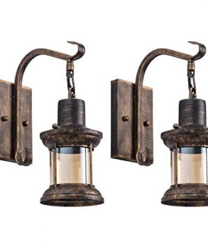 Rustic Light Fixtures Oil Rubbed Bronze Finish Indoor Vintage Wall Light Wall Sconce Industrial Lamp Fixture Glass Shade Farmhouse Metal Sconces Wall Lights For Bedroom Living Room Cafe2 Pack 0 300x360