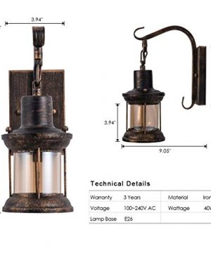 Rustic Light Fixtures Oil Rubbed Bronze Finish Indoor Vintage Wall Light Wall Sconce Industrial Lamp Fixture Glass Shade Farmhouse Metal Sconces Wall Lights For Bedroom Living Room Cafe2 Pack 0 5 300x360
