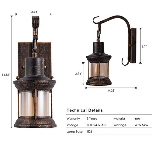 Rustic Light Fixtures Oil Rubbed Bronze Finish Indoor Vintage Wall Light Wall Sconce Industrial Lamp Fixture Glass Shade Farmhouse Metal Sconces Wall Lights For Bedroom Living Room Cafe2 Pack 0 5