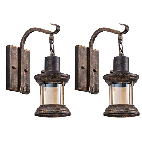 Rustic Wall Light Fixtures Oil Rubbed Bronze Finish Indoor Vintage Wall Light Wall Sconce Industrial Lamp Fixture Glass Farmhouse Goals