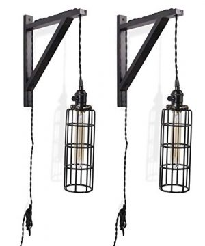 Rustic State 2 Vintage Farmhouse Design Wall Lamp Sconce Set With Wood Wall Bracket Cylinder Cage And Tube LED Energy Saver Edison Light Bulb 0 300x360
