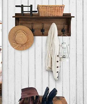 Rustic Wall Mounted Coat Rack Shelf Brown Wooden Country Style 24 Entryway Shelf With 5 Rustic Hooks Solid Pine Wood Perfect Touch For Your Entryway Mudroom Kitchen Bathroom And More Brown 0 0 300x360