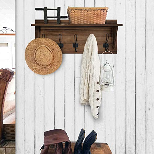 Rustic Wall Mounted Coat Rack Shelf Brown Wooden Country Style 24 Entryway Shelf With 5 Rustic Hooks Solid Pine Wood Perfect Touch For Your Entryway Mudroom Kitchen Bathroom And More Brown 0 0