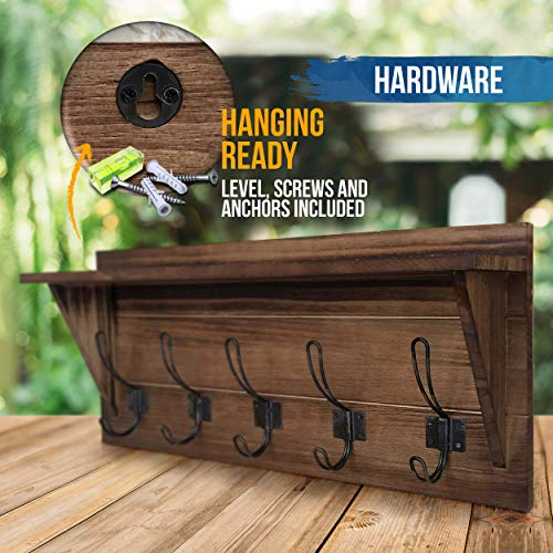 Rustic Wall Mounted Coat Rack Shelf Brown Wooden Country Style 24 Entryway Shelf With 5 Rustic Hooks Solid Pine Wood Perfect Touch For Your Entryway Mudroom Kitchen Bathroom And More Brown 0 4