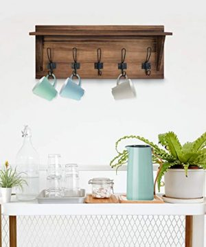 Rustic Wall Mounted Coat Rack Shelf Brown Wooden Country Style 24 Entryway Shelf With 5 Rustic Hooks Solid Pine Wood Perfect Touch For Your Entryway Mudroom Kitchen Bathroom And More Brown 0 5 300x360