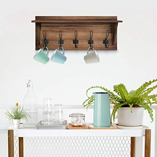 Rustic Wall Mounted Coat Rack Shelf Brown Wooden Country Style 24 Entryway Shelf With 5 Rustic Hooks Solid Pine Wood Perfect Touch For Your Entryway Mudroom Kitchen Bathroom And More Brown 0 5