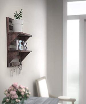 Rustic Wall Mounted Shelves Kitchen Or Bathroom Farmhouse Rustic Dcor Vintage Wall Shelves With Two Double Iron Hooks 2 Tier Storage Rack Decorative Wall Shelf Organizer Torched Brown 0 0 300x360