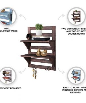 Rustic Wall Mounted Shelves Kitchen Or Bathroom Farmhouse Rustic Dcor Vintage Wall Shelves With Two Double Iron Hooks 2 Tier Storage Rack Decorative Wall Shelf Organizer Torched Brown 0 1 300x360