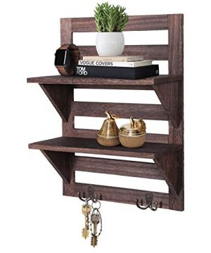 Rustic Wall Mounted Shelves Kitchen Or Bathroom Farmhouse Rustic Dcor Vintage Wall Shelves With Two Double Iron Hooks 2 Tier Storage Rack Decorative Wall Shelf Organizer Torched Brown 0 300x360