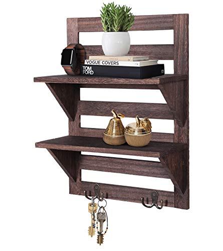 Rustic Wall Mounted Shelves Kitchen Or Bathroom Farmhouse Rustic Dcor Vintage Wall Shelves With Two Double Iron Hooks 2 Tier Storage Rack Decorative Wall Shelf Organizer Torched Brown 0