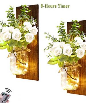 Rustic Wall Sconces Mason Jar Sconces Handmade Wall Art Hanging Design With 6 Hours Timer LED Fairy Lights And White Rose Farmhouse Kitchen Decorations Wall Decor Living Room Lights Set Of Two 0 300x360