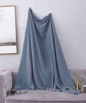 SIMPLEOPULENCE Classic Cotton Throw Blanket Cable Knit Woven With Tassels Cozy Blanket Scarf Shawl Farmhouse Decoration Blue 0 0 300x360