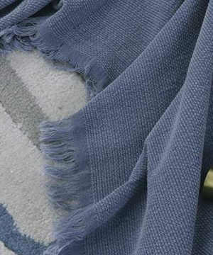 SIMPLEOPULENCE Classic Cotton Throw Blanket Cable Knit Woven With Tassels Cozy Blanket Scarf Shawl Farmhouse Decoration Blue 0 1 300x360