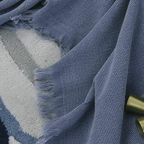 SIMPLEOPULENCE Classic Cotton Throw Blanket Cable Knit Woven With Tassels Cozy Blanket Scarf Shawl Farmhouse Decoration Blue 0 1