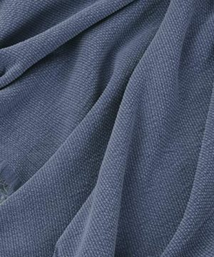 SIMPLEOPULENCE Classic Cotton Throw Blanket Cable Knit Woven With Tassels Cozy Blanket Scarf Shawl Farmhouse Decoration Blue 0 2 300x360