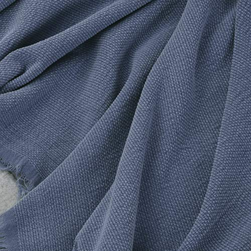 SIMPLEOPULENCE Classic Cotton Throw Blanket Cable Knit Woven With Tassels Cozy Blanket Scarf Shawl Farmhouse Decoration Blue 0 2