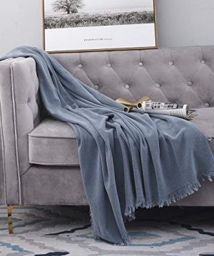 SIMPLEOPULENCE Classic Cotton Throw Blanket Cable Knit Woven With Tassels Cozy Blanket Scarf Shawl Farmhouse Decoration Blue 0 4 300x360