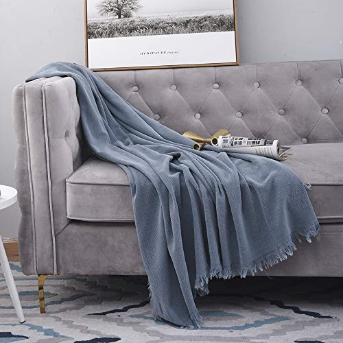 SIMPLEOPULENCE Classic Cotton Throw Blanket Cable Knit Woven With Tassels Cozy Blanket Scarf Shawl Farmhouse Decoration Blue 0 4