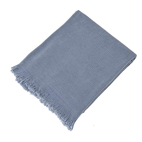 SIMPLEOPULENCE Classic Cotton Throw Blanket Cable Knit Woven With Tassels Cozy Blanket Scarf Shawl Farmhouse Decoration Blue 0 5