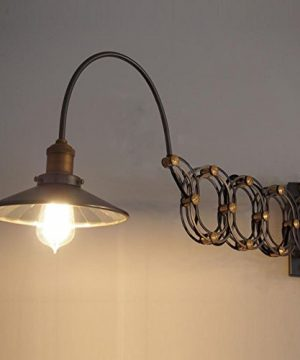 SUSUO Lighting Industrial Look Scissor Extendable Accordion Wall Sconces Loft Style Iron Art Wall Lamp 0 0 300x360