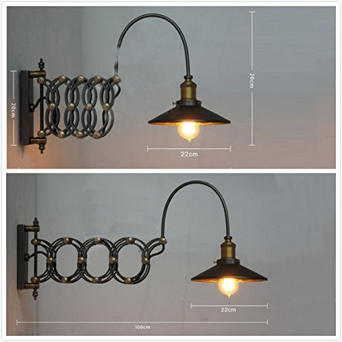 SUSUO Lighting Industrial Look Scissor Extendable Accordion Wall Sconces Loft Style Iron Art Wall Lamp 0 2