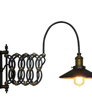 SUSUO Lighting Industrial Look Scissor Extendable Accordion Wall Sconces Loft Style Iron Art Wall Lamp 0 300x360