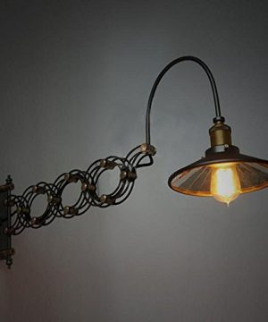 SUSUO Lighting Industrial Look Scissor Extendable Accordion Wall Sconces Loft Style Iron Art Wall Lamp 0 5 300x360