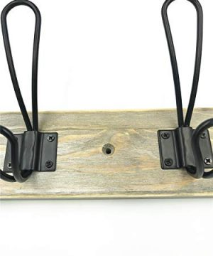 Sageme Wall Mounted Coat Rack Wooden Entryway Vintage Rustic Coat Rack Hat Hanger Rack 4 Hook Rail For The Entryway Bathroom Bedroom Kitchen Mudroom Solid Wood 4 Hooks Black 0 2 300x360