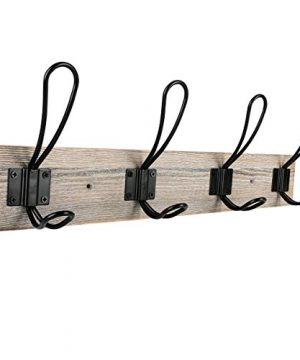 Sageme Wall Mounted Coat Rack Wooden Entryway Vintage Rustic Coat Rack Hat Hanger Rack 4 Hook Rail For The Entryway Bathroom Bedroom Kitchen Mudroom Solid Wood 4 Hooks Black 0 300x360