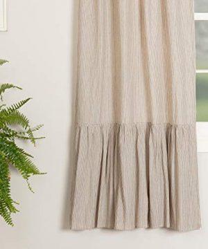 Saras Ticking Ruffled Panel Curtains Set Of Two 84 Long Black Cream Mini Mini Stripe Vintage Farmhouse Country Cottage Drape Window Treatment 0 2 300x360