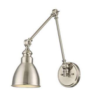 Savoy House 9 960 1 SN 8 Dakota 1 Light Adjustable Sconce Transitional Farmhouse Ceiling Light 100 Watts Satin Nickel Finish With Metal Materials 0 300x360