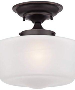 Schoolhouse Floating Ceiling Light Semi Flush Mount Fixture Bronze 12 White Glass For Bedroom Kitchen Regency Hill 0 0 300x360