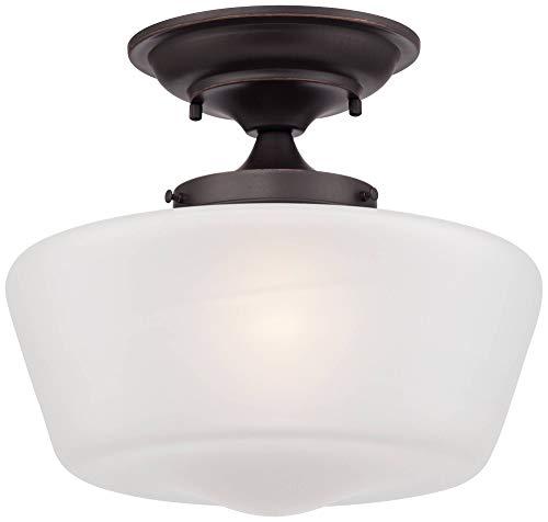 Schoolhouse Floating Ceiling Light Semi Flush Mount Fixture Bronze 12 White Glass For Bedroom Kitchen Regency Hill 0 0